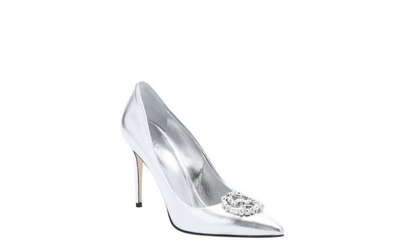 Guccisilver metallic leather